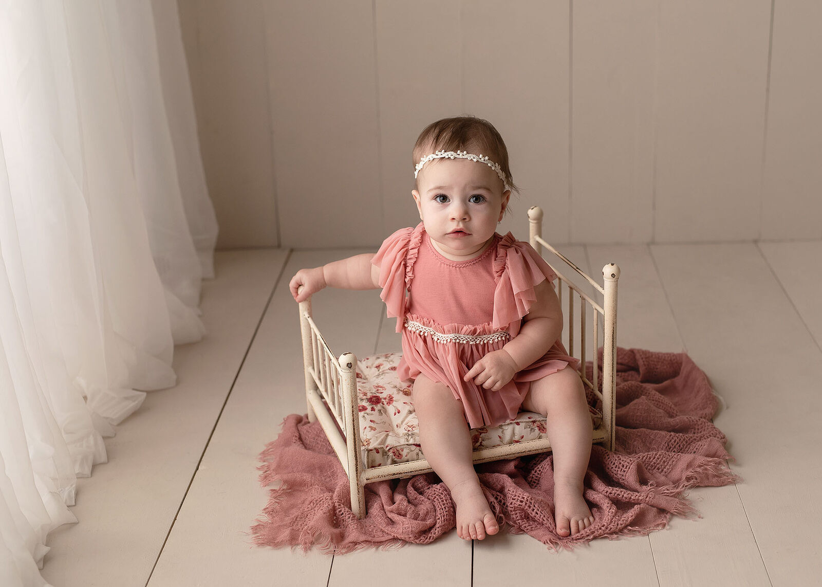 studio milestone session with a baby girl